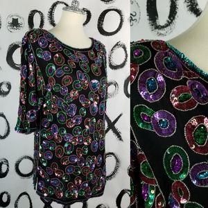 Vintage Beaded Sequin Blouse Top Mod Circle Design